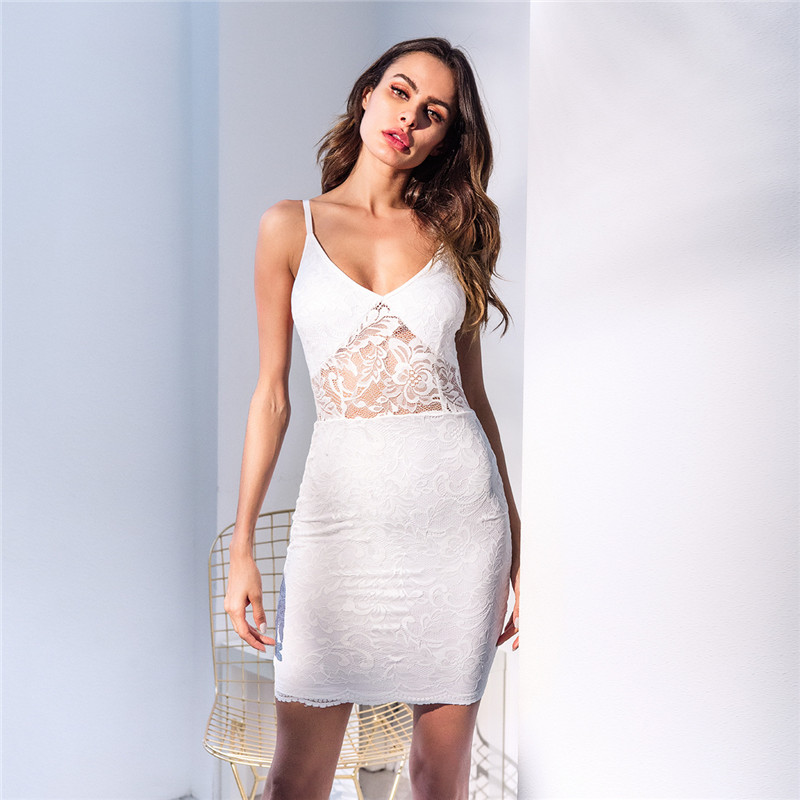 b5692759b24 Hot Sexy   Club Lace Bodycon Dress 2018 Woman Summer Sundress Vintage White  Mini Vestidos-in Dresses from Women s Clothing on Aliexpress.com