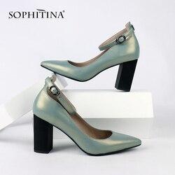 SOPHITINA/Обувь женская. Туфли женские с острым мыском на высоком квадратном каблуке. Модная повседневная обувь с пряжкой на ремешке. Новые диза...