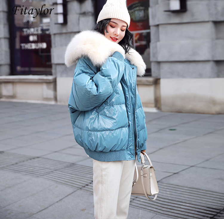 Fitaylor White Duck Down Parkas Winter Jacket Women Large Natural Fur Collar Bright Side Coat Female Loose Snow Outwear