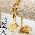 Golfinho de ouro pingente de colar de Alta Qualidade banhado a Ouro 70 CM corrente de Ouro declaração de Moda Hiphop colar de jóias homens NOVO