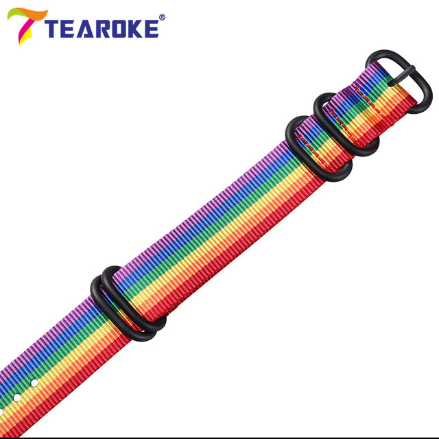 Wholesale 13 Color Heavy Duty Nylon Watchband NATO ZULU Strap 18mm 20mm 22mm 24mm Striped Rainbow Canvas Replacement Watch Band