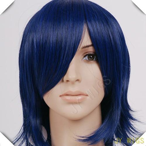 Long Bang Haikyuu!Nishinoya Yuu Black streaked Dark Blue Layer Short Hair Cosplay Wig For Party Costume