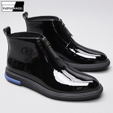 cb25c9fe111 Men Formal Patent Leather Ankle Boots Fashion High Quality Zipper Pointed Toe  Martin Boots Hombre Casual