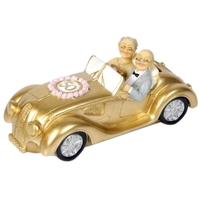 Golden Wedding Couple Doll in Golden Car 50th Wedding Anniversary Cake Topper Decoration