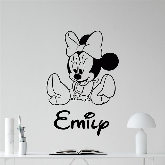 Minnie mouse wall decal girl kids custom name mickey mouse cartoons vinyl sticker kids room wall