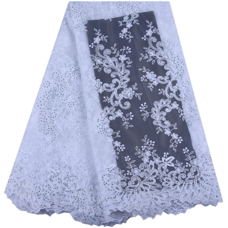 2019 Fashion Pure White African Milk Silk Lace High Quality French Net Lace Fabric With Stones
