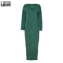 LAISIYI Casual Solid Maxi Dress Women Long Sleeve V Bodycon Knitted Dress Winter Autumn Ankle Length Dress Vestido ASDR50296