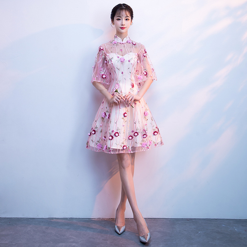 Hot Pink Chinese Style Dress Lace Novelty A-Line Lady Cheongsam Flare Sleeve Vintage Young Girl Qipao Big Size 3XL Vestidso