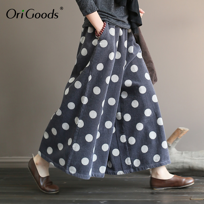 OriGoods Corduroy Skirt   Pants   Women Cotton   Wide     leg     Pants   Plus size Polka Dot Autumn Spring   Wide     leg   Trousers Thick   Pants   A375