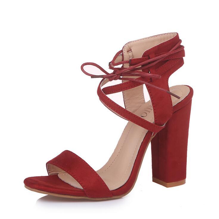Avec Hauts 2018 Noir Talons marron Sandales bleu Lacets Green army Pompes Ouvert Épais Sexy rouge Femmes À kaki Femme Bout Joksd Chaussures Xs02 74a6xa