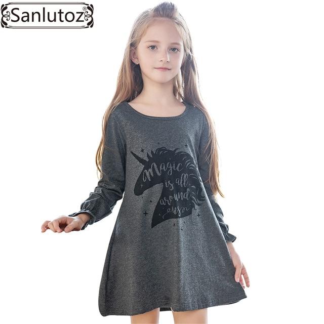 Sanlutoz Kid Dress for Girl Cartoon Girls Dress Unicorn Children Clothing Winter Cute Toddler 2017 Brand Fashion Party Costume