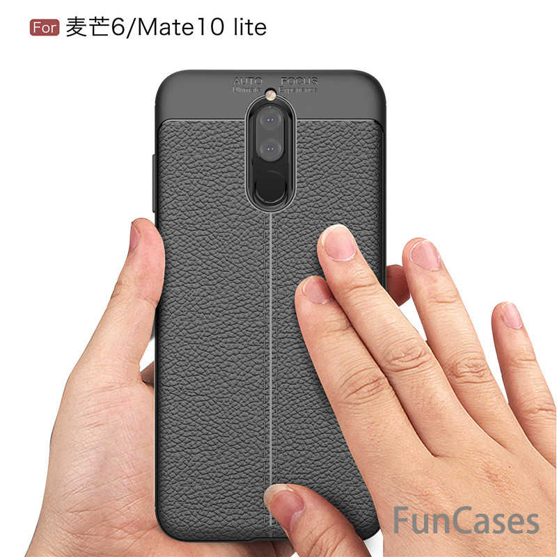 Para Huawei Mate 10 Lite Funda de cuero Litchi de grano Anti-huella digital TPU a prueba de golpes cubierta trasera para Nova 2i/ g10 Plus