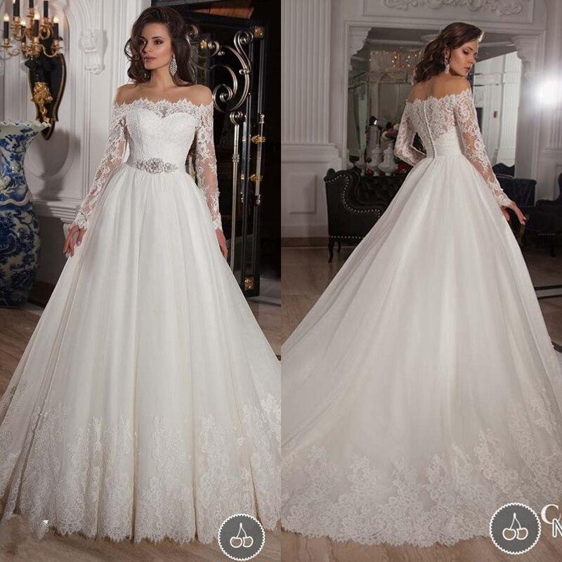 Vestido De Noiva Manga Longa A Line Country Style Boat Neck Wedding Dresses Long Sleeve White Lace Dress 2015 SAM060 In From