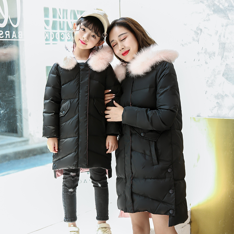 Family Matching Clothing Mother Daughter Winter White Duck Down Jacket Kids Long Hooded Coat Family Look Style 120-170 Size family fashion mother and child tendrils down coat thickening jacket vest mother