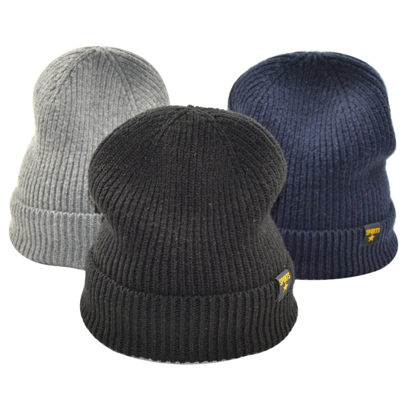New Sale Autumn Winter Unisex Wool Cap  Outdoor Sports Riding Keep Warm Pullover Hat Casual Beanie Fashion Solid Knitted Hats gift children knitting wool hat cute keep warm rabbit beanie cap autumn and winter hat with earflaps whcn