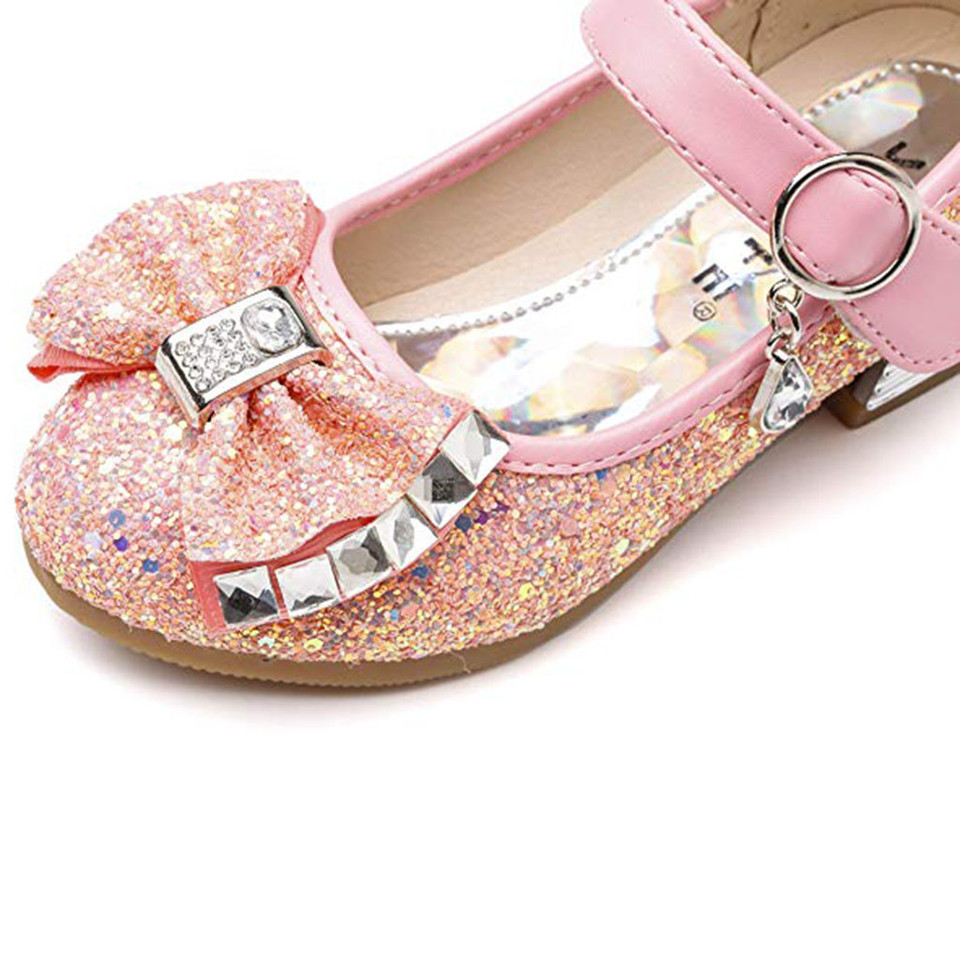 Infant Kids Baby Girls Crystal Bling Bowknot Single Princess Shoes Sandals BOW