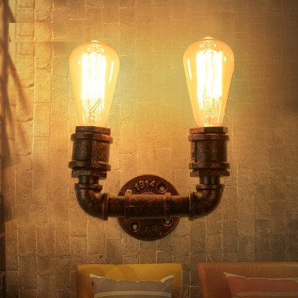Loft Style Iron Vintage Wall Light Fixtures Industrial Wind Edison Wall Sconce Stair Water Pipe Wall Lamp Indoor Lighting loft style iron edison wall sconce industrial lamp wheels vintage wall light fixtures antique indoor lighting lampara pared
