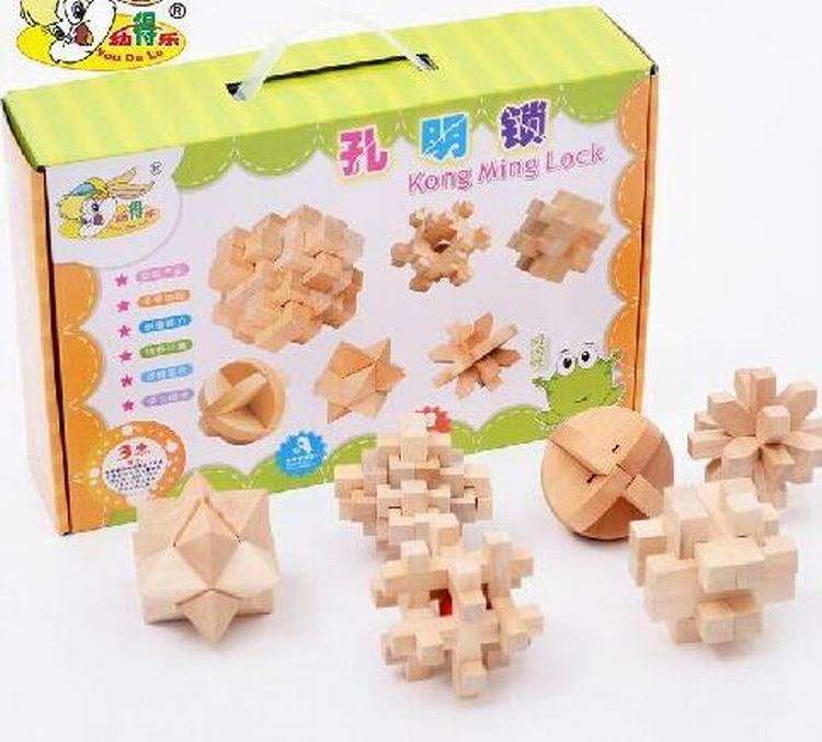 Wood Classic IQ Brain Teaser Jigsaw Lock Puzzle Educational Toy Gift for Kids and Adults 6Pcs/ Set