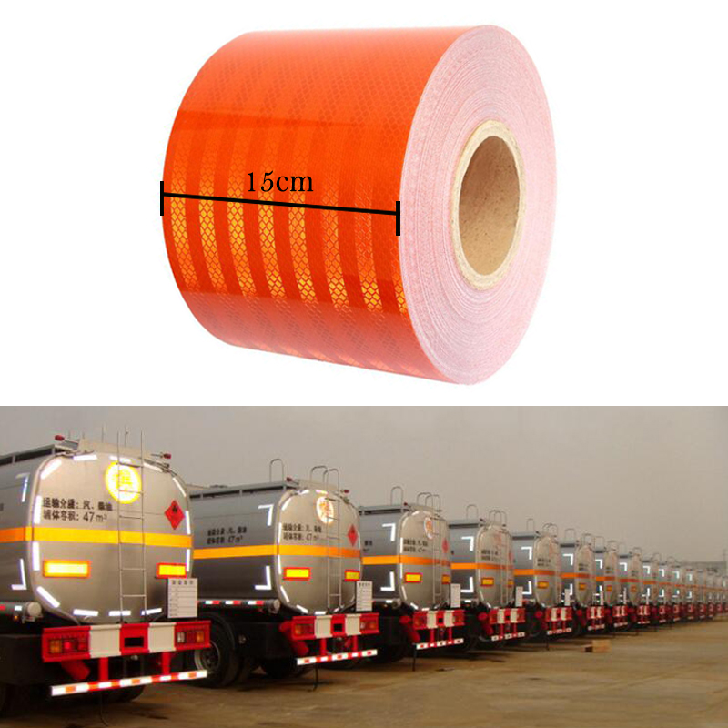 15 см X 5 м высокое качество светоотражающий оранжевый пояс Авто Супер Класс Светоотражающая наклейка 15 см оранжевая Светоотражающая предупреждающая лентаСветоотражающий материал    АлиЭкспресс