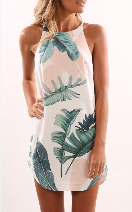 Mode robe d'été imprimé feuille de palmier décontracté licou O cou robe de réservoir Boho Mini robes femme Beachwear Sundress XL