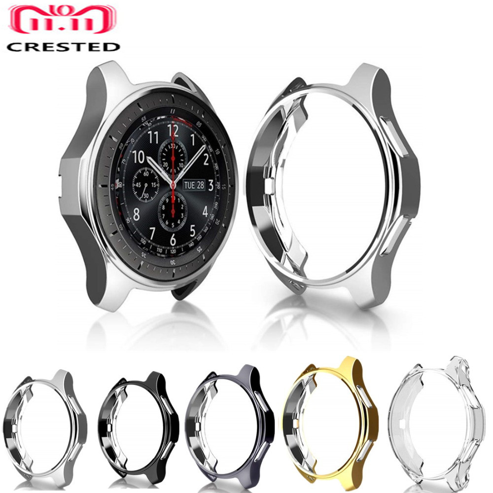 CRESTED soft watch case cover For Samsung Gear S3 frontier TPU plated replacement protective bumper shell frame watchcase protective abs bumper frame for samsung i8750 transparent