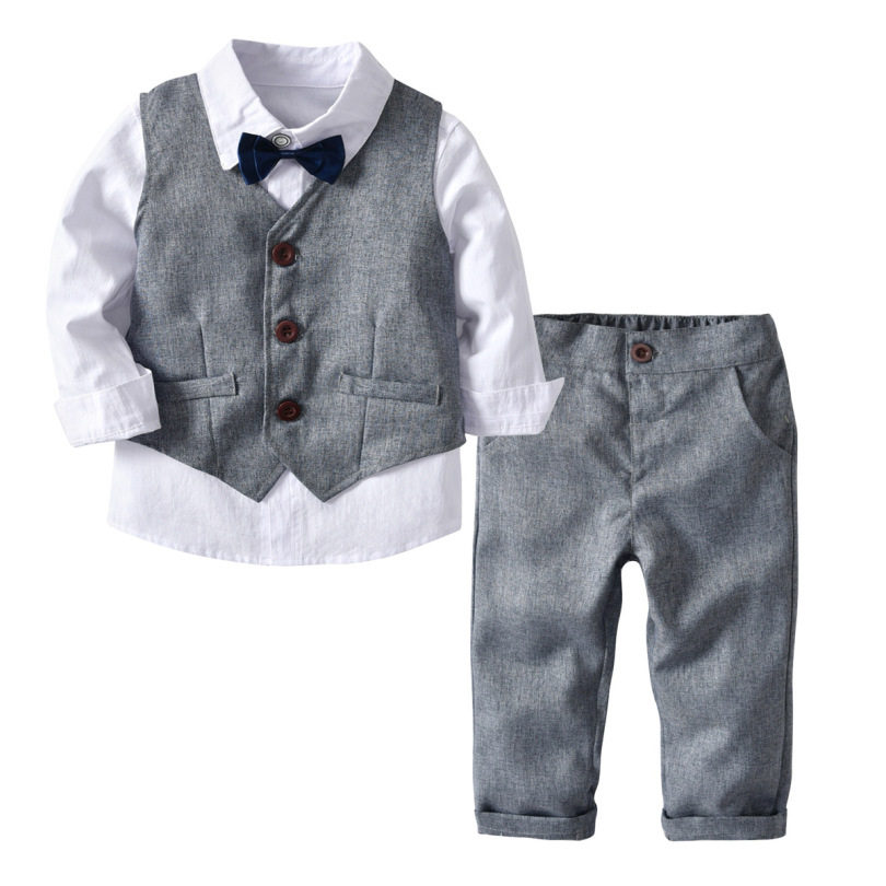 2019 Boys Gentleman Suits Kid Boys Long Sleeve Shirts+Gray Vest+Trousers+Bow Tie 4Pcs Boys Autumn Set Bebes Winter Treasure Suit(China)
