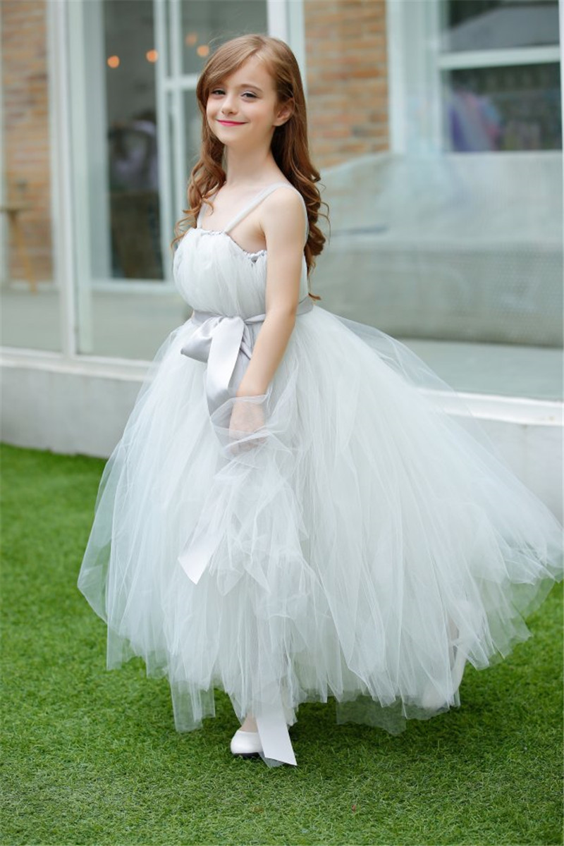 Gray Flower Girl Wedding Dresses Tulle Tutu Dress Girl Kids Pageant ...