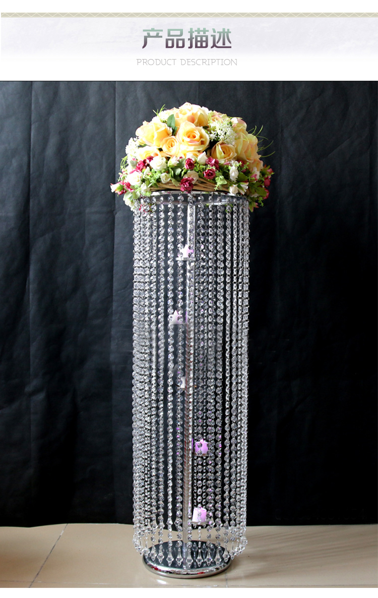 10pcs Crystal Wedding Pillar Flower Stand Wedding