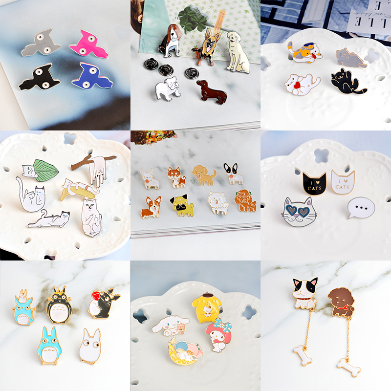 Jacket Pin Brooch Badge Button-Pins Animal-Jewelry Gift Puppy-Totoro Cat Miss-Zoe Kids