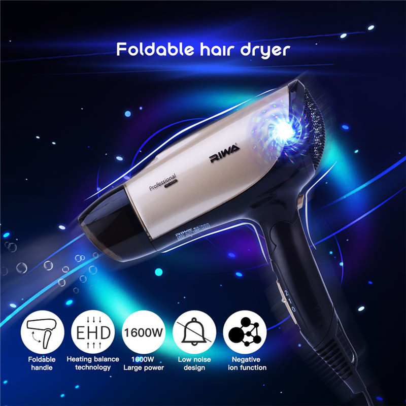 Low Noise 1600W Foldable Hair Blower Dryer Professional Electric Hairdryer Straight Curls Styling Tool Hair Dryer Travel Use 495