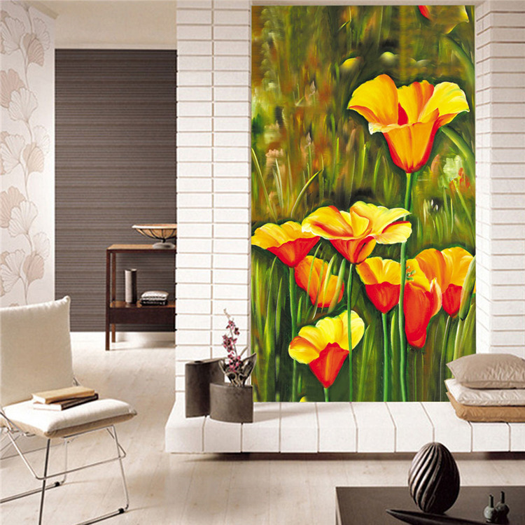 Aliexpress Com Buy Custom Vintage Flowers Wallpaper Abstract Painting Wall Mural Silk Photo Wallpaper Room Decor Corridor Gallery Door Art Bedroom From