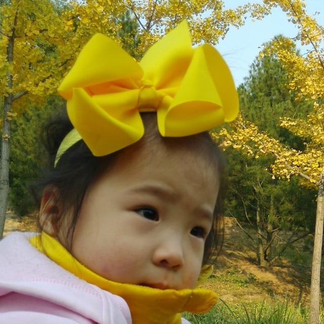 16Colors New Fashion Hot children kids Baby girls Big Ribbon Bowknot Headband Headwear Hair Band  Head Piece Accessories 15cm