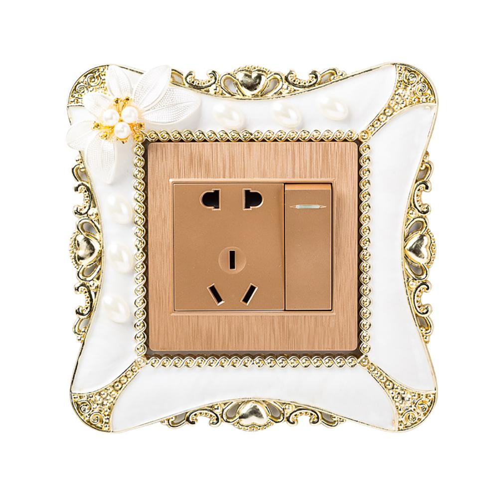 1pc 8.6*8.6cm Pearl Flower Switch Sticker Square Cover Wall  Light Socket Home Bedroom Decor Light Switch  Sticker
