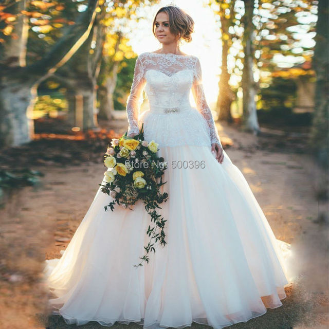3cfc812759f4a Vintage Lace Long Sleeves Wedding Dress 2016 vestidos de novia Bow Bridal  Gowns Sexy Backless Wedding Bride Dresses