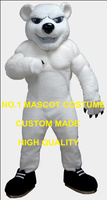 Anime Cosply Costume White Muscle Polar Bear Mascot Costume Adult Cartoon Character Mascotte Fancy Dress Suit Kits for 1953