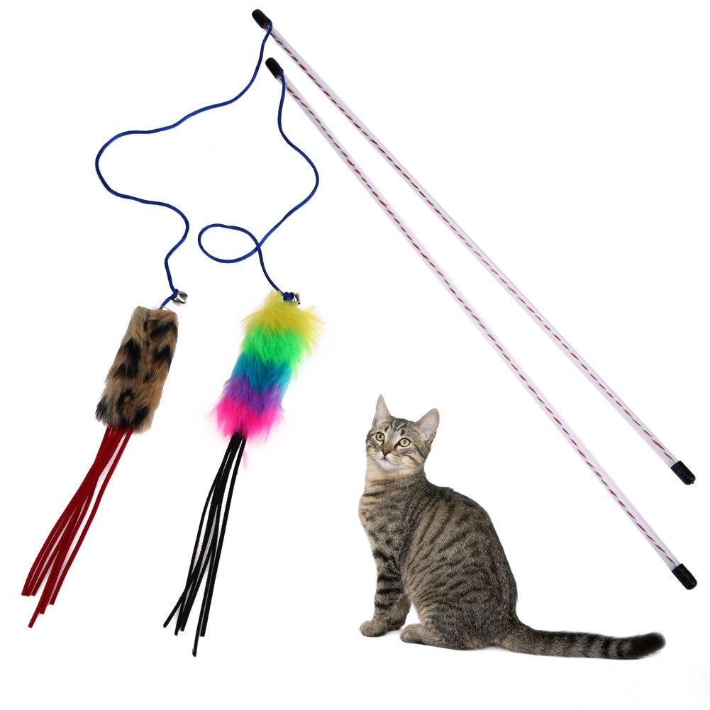 Animaux En Plastique Jouet 1/2 pièces drôle chat jouets plushteaser pet chat formation baguette bâton  plastique fil dentaire jouet pour chats chaton petit animal animaux chat