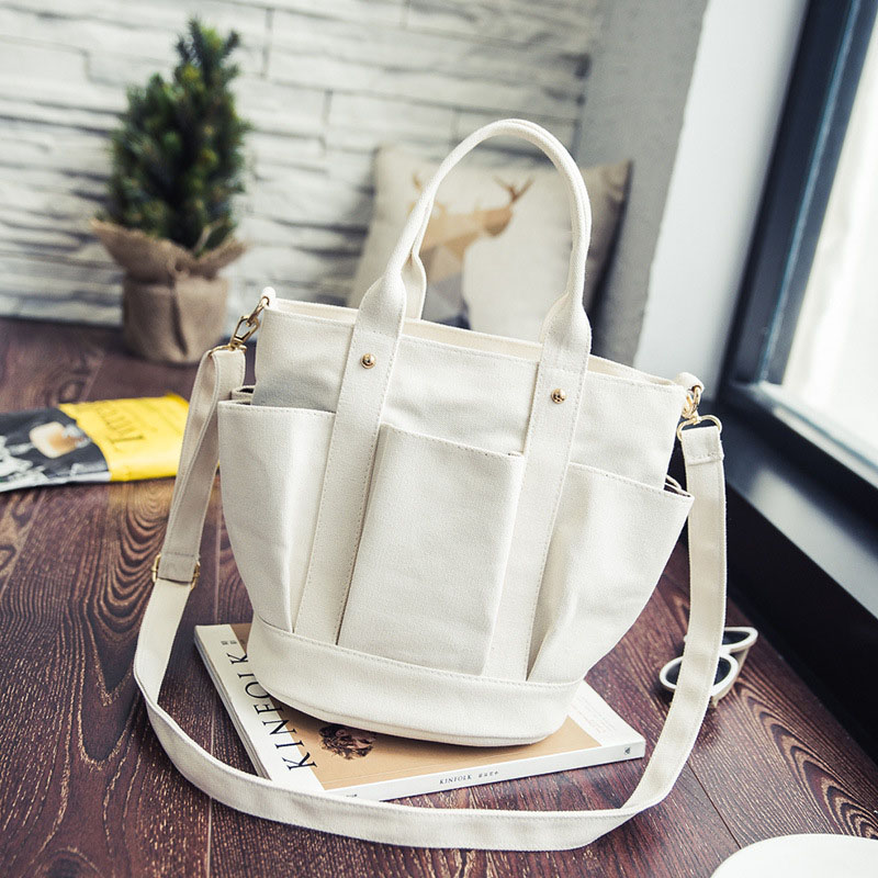 Canvas Bag Drawstring Bucket Small Cross-Body Bag Trend Brief Shoulder Handbag Sac SS7381