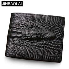Genuine Leather Men Wallets Crocodile pattern Coin Pocket Bl