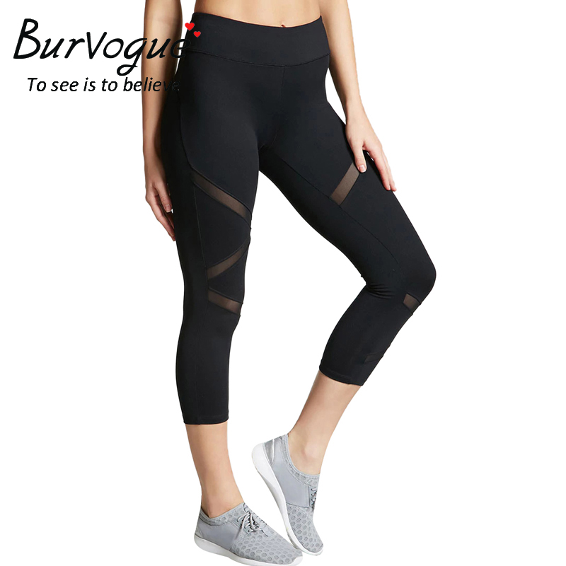 Burvogue Women Yoga Pants Fitness Leggings Sport Pants Breathable Sportswear For Running Summer Quick Dry Compression Gym Pants
