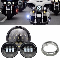 Black 7 inch Motorcycle LED Headlight + 2 x 4.5'' fog lights for Harley Electra Glide Softail Fat Boy with 7'' Bracket