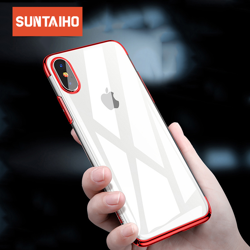 Suntaiho Electroplating Silicon Ultra Thin Soft TPU Case For 7 7Plus 8 8Plus X Transparent Phone Case For iPhone 6 6s 6Plus