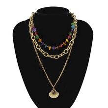 New Bohemian Muliti Layers of Stone Shell Pendant Necklace Sea Shells Gold Color Cowrie Women Girls Seashell Choker A30