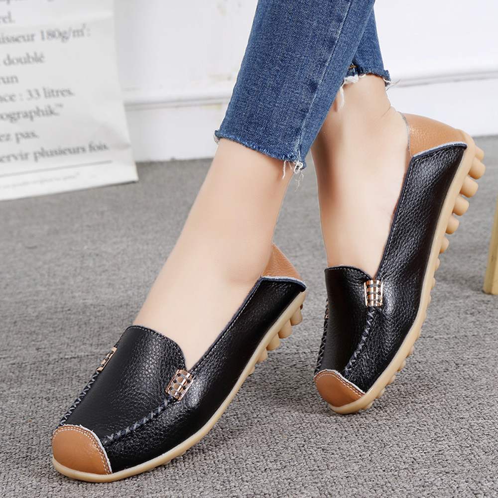Women Casual Flat Soft Bottom Outdoor Comfortable Slip On Peas Boat Shoes slip on shoes woman flats shoes ladies waterproof shoe roxy women s lido iii b slip on shoe flat