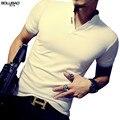 2017 venda quente de verão da marca polo camisa dos homens de moda cor sólida manga curta polo men casual slim fit camisa dos homens tamanho m-5xl