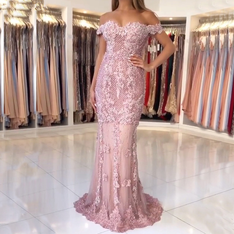 Pink Muslim   Evening     Dresses   2019 Mermaid Off The Shoulder Lace Pearls Long Islamic Dubai Saudi Arabic Long Formal   Evening   Gown