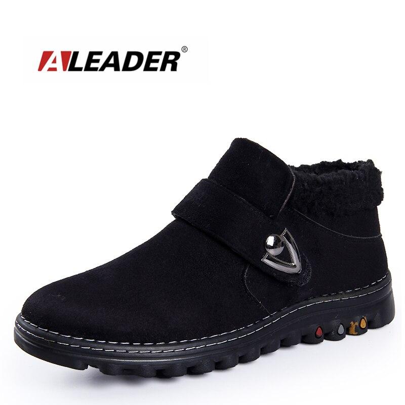 Aleader Winter Snow Men Boots Warm Suede Leather Shoes Men Casual Cotton Fur Rubber Boots Ankle Men Work Booties Home Fur Shoes