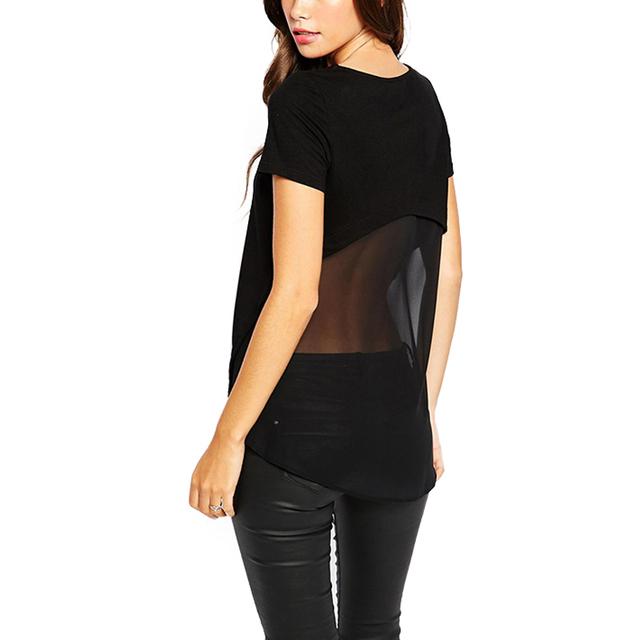 2017 Verano diseño de la camiseta mujeres tops Sexy Negro transparente Malla Patchwork Tops Camiseta de Manga Corta Irregular 90 s camiseta