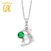0 79 Ct Round Green Simulated Emerald White Diamond 925 Silver Dolphin Pendant