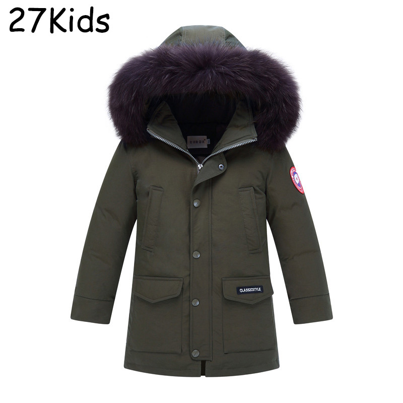 2017 Winter Jacket Boy Coat Duck Down Jacket With Fur Collar Hood Removable Parka Kids Casual Outerwear Coats Keep Warm Jackets russia winter boys girls down jacket boy girl warm thick duck down