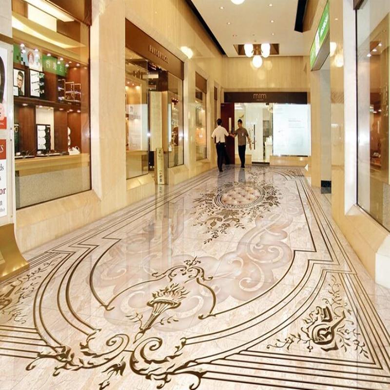 Photo Wallpaper European Style Marble Pattern Floor Mural Sticker Living Room Bedroom Hotel Luxury Floor Tiles PVC Wall Paper 3D